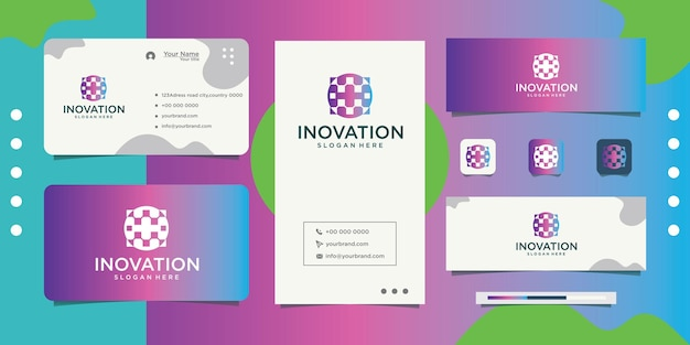 Abstract chemistry innovation logo design and business card