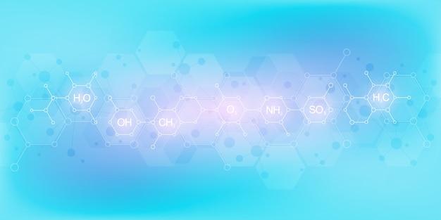 화학 수식 및 분자 구조와 부드러운 파란색 배경에 추상 화학. 과학 및 혁신 기술 개념.
