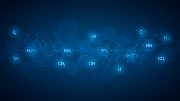 Abstract chemistry pattern on dark blue background