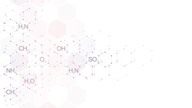 化学式と分子構造のきれいな白い背景の上の抽象的な化学パターン。科学と革新技術のコンセプトとアイデアを備えたテンプレート。