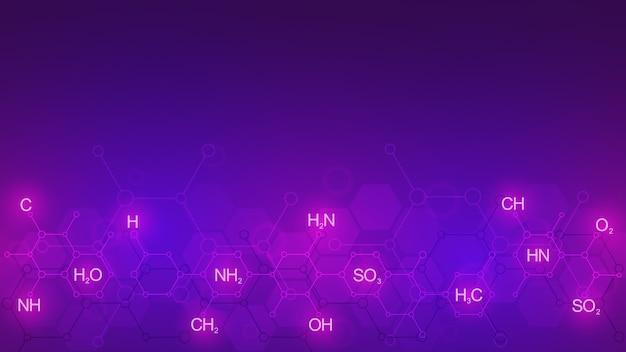 화학 공식 및 분자 구조와 보라색 배경에 추상 화학 패턴. 과학 및 혁신 기술에 대한 개념과 아이디어가 담긴 템플릿.