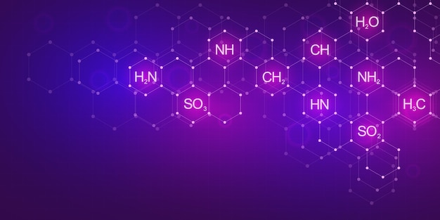 Abstract chemistry pattern on purple background with chemical formulas and molecular structures. template  with concept and idea for science and innovation technology.