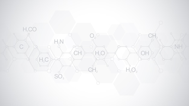 Abstract chemistry pattern on soft grey background with chemical formulas and molecular structures. template design with concept and idea for science and innovation technology.