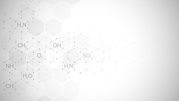 化学式と分子構造、科学とイノベーション技術の概念とアイデアを含む抽象的な化学記号の背景。