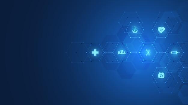 化学式と分子構造、科学とイノベーション技術の概念とアイデアを備えた濃い青色の背景に抽象的な化学記号。