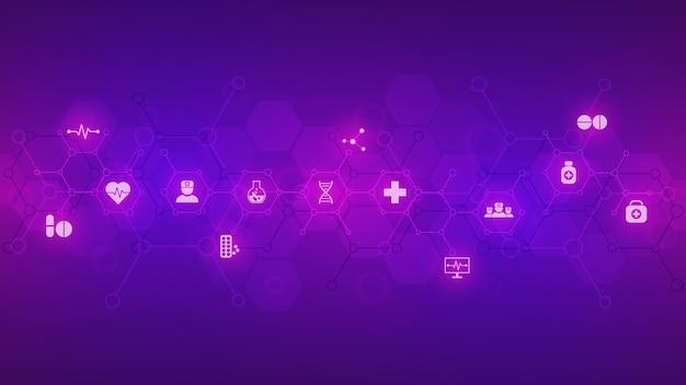 化学式と分子構造、科学とイノベーション技術の概念とアイデアと紫色の背景に抽象的な化学記号。