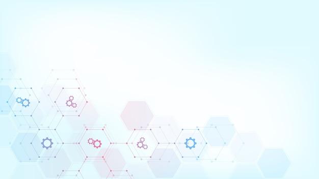 化学式と分子構造、科学とイノベーション技術の概念とアイデアと柔らかい青色の背景に抽象的な化学記号。
