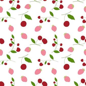 シームレスなパターンの背景で抽象的な桜とイチゴ。ベクトルイラスト。
