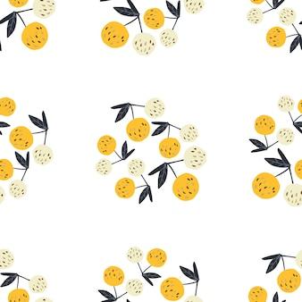 Абстрактные вишневые ягоды и листья бесшовные модели. летние фруктовые ягодные обои. дизайн для ткани, текстильный принт. рисованной вишни на белом фоне. векторная иллюстрация.