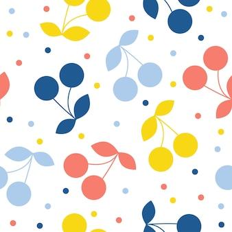 추상 체리 원활한 패턴 배경입니다. 디자인 카드, 카페 메뉴, 벽지, 여름 선물 앨범, 스크랩북, 휴일 포장지, 아기 기저귀, 가방 프린트, 티셔츠 등을 위한 유치한 수제 공예