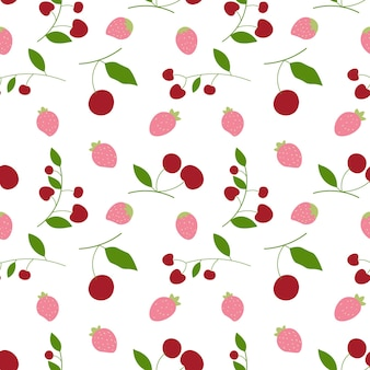 Abstract cherry and strawberry in seamless pattern background. vector illustration.