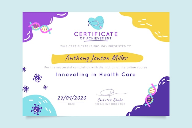 Abstract child-like medical certificate