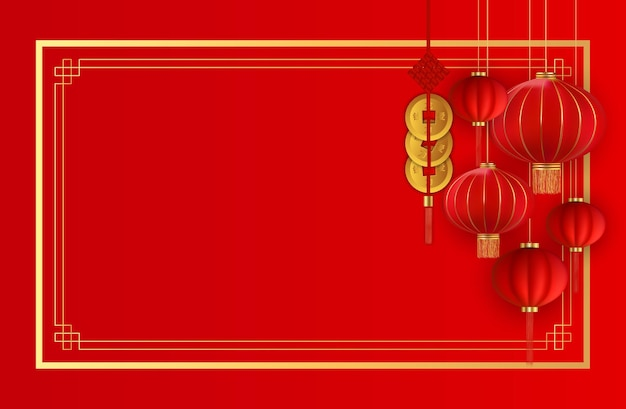 Абстрактный китайский праздник фон с подвесными фонарями и золотыми монетами.