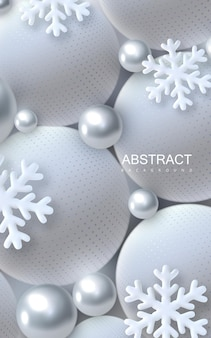 Abstract christmas background with 3d silver and white balls and snowflakes