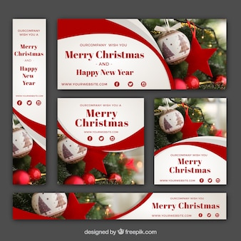 Abstract christmas banners pack