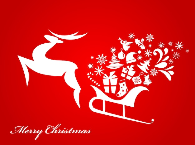 Abstract christmas deer red background for poster, banner or greeting card