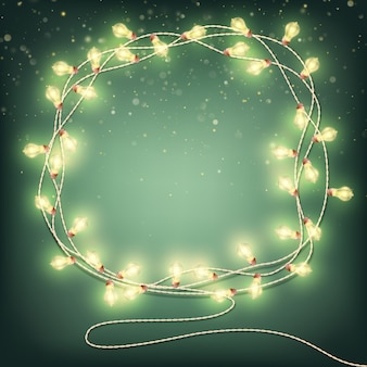球根と抽象的なクリスマスの花輪。
