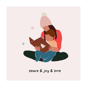 Abstract christmas greeting card with family mother and son reading book. trendy new year winter holiday poster template. vector illustration in hand drawn flat style