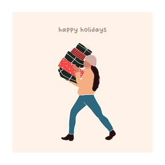 Abstract christmas greeting card with girl carries gift boxes. trendy new year winter holiday poster template. vector illustration in hand drawn flat style