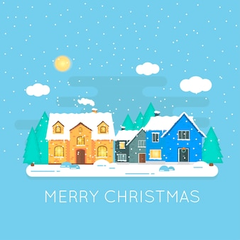 Abstract christmas icon with winter home . perfect holiday illustration with cozy snow house, cottage.