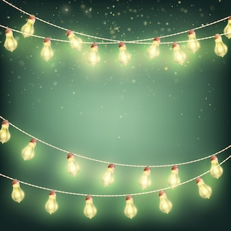 Абстрактные рождественские огни, гирлянды с пространством для текста.