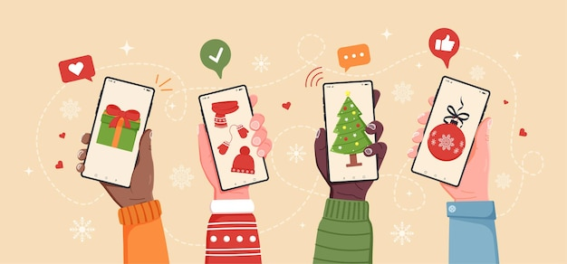 Abstract christmas online shopping concept with 4 hands holding smartphones with christmas gifts on the screens. flat cartoon vector illustration