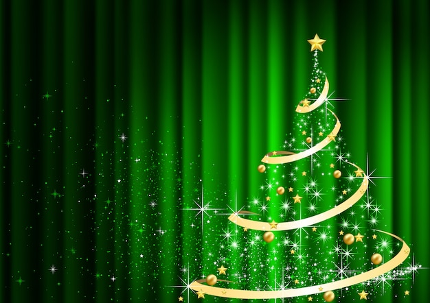 Abstract christmas tree in front of green curtain