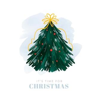 Абстрактная иллюстрация рождественской елки с лентой и глобусами