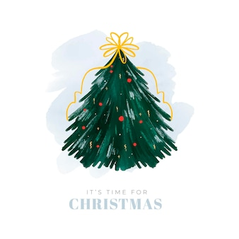 Abstract christmas tree illustration with ribbon and globes