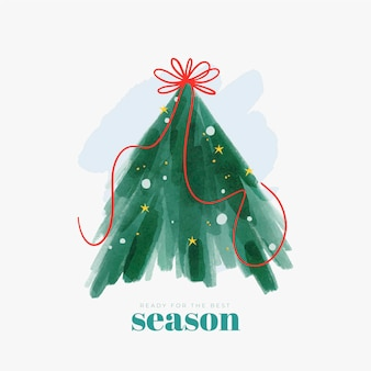 Abstract christmas tree illustration with ribbon