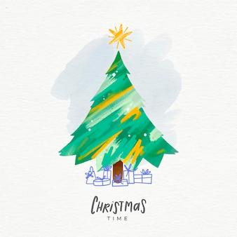 星と抽象的なクリスマスツリーのイラスト