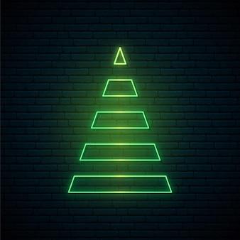 ネオンスタイルの抽象的なクリスマスツリー。
