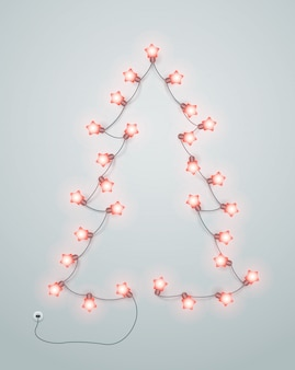 Abstract christmas tree made from lighting garland.