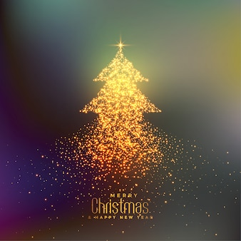 Abstract christmas tree made with particles background