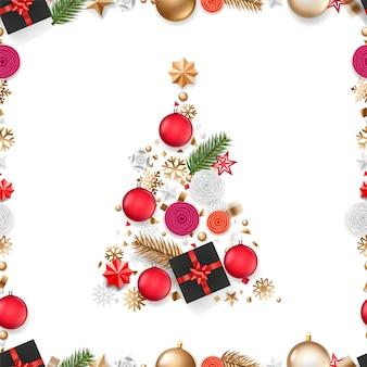 さまざまなホリデーアクセサリーの抽象的なクリスマスツリー