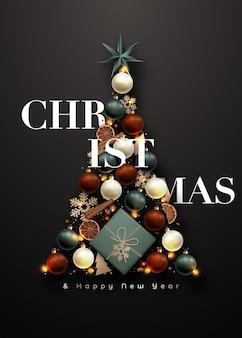 Абстрактная рождественская елка на темном фоне