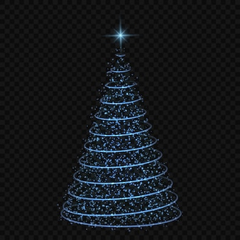 Abstract christmas tree on transparent background. symbol of happy new year