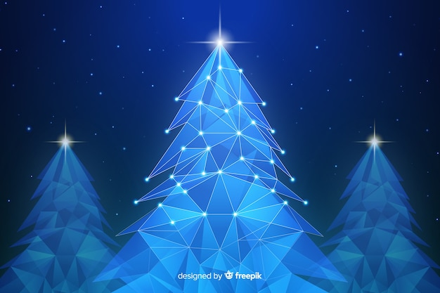 Abstract christmas tree with lights in blue shades