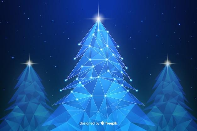 青い色合いのライトと抽象的なクリスマスツリー