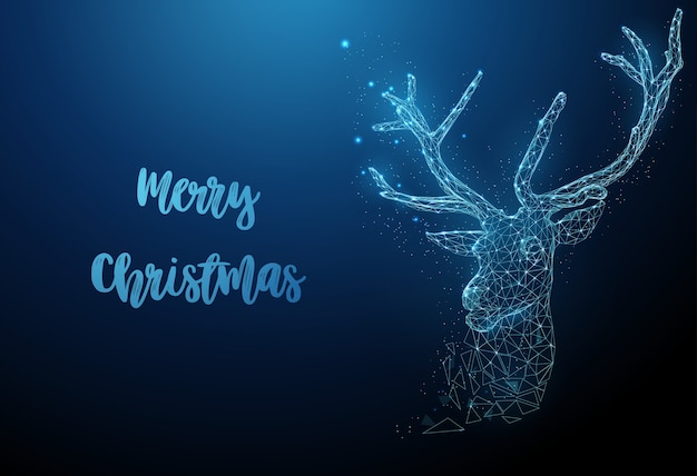 Abstract chtistmas deer. magic christmas greeting card. low poly style design. merry christmas card. modern 3d graphic geometric background. wireframe light connection structure.