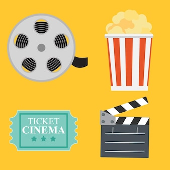 Abstract cinema flat background with reel, old style ticket, big