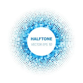 白い背景の上の抽象的な円青いハーフトーン。ベクトルイラストeps10