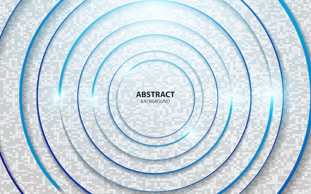 Abstract circle blue line on white background