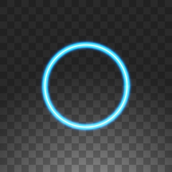 Abstract circle blue neon frame,  illustration,  on transparent background.