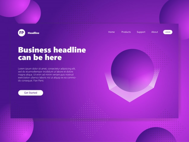 Abstract circle design background landing page purple gradient