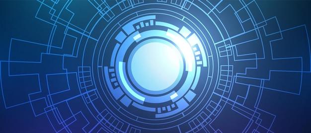 추상적인 원형 디지털 배경, 스마트 렌즈 기술, 회로 기판
