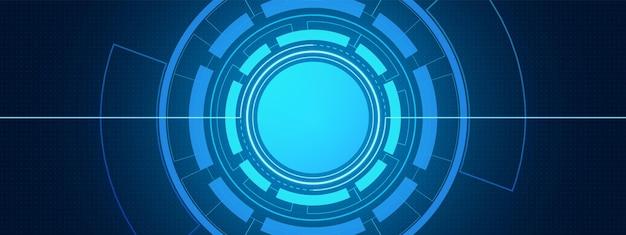 추상적인 원형 디지털 배경, 스마트 렌즈 기술, 도트 패턴, 버튼 빈 공간