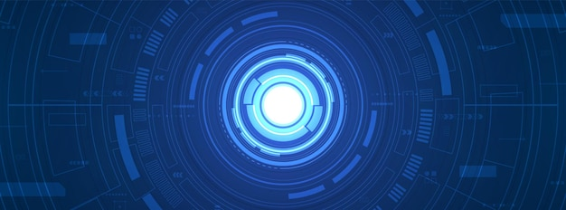 추상 원 디지털 배경, 스마트 렌즈 기술, 중첩 레이어, 화살표 속도 향상