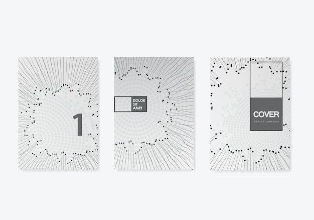 Абстрактные линии точек круга для бумажного дизайна. абстрактный шаблон графического дизайна. текстура белой бумаги. цифровой фон. деловая иллюстрация. черный фон. вектор стиля линии.