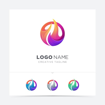Abstract circle fire logo variation